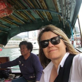 Riding the sampan boat in Hong Kong's Aberdeen Harbor